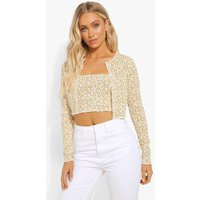 Womens Ditsy Print Cardigan And Bandeau Top - Yellow - 16, Yellow