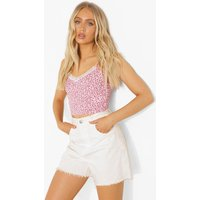 Womens Ditsy Print Lace Trim Cami Top - Pink - 16, Pink