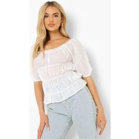 Womens Ruched Square Neck Top - White - 14, White