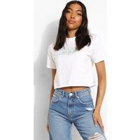 Womens Tall Cherub Print Cropped T-Shirt - White - 12, White