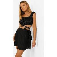 Womens Satin Tie Waist Skater Skirt - Black - 8, Black