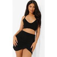 Womens Broderie Jersey Wrap Mini Skirt - Black - 8, Black