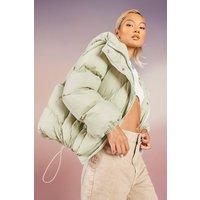 Womens Quilt Detail Hooded Puffer - Green - 16, Green