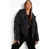 Womens Popper Detail Puffer Jacket - Black - 8, Black
