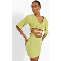 Womens Linen Mix Tie Waist Skirt - Green - 12, Green