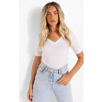 Womens V Neck Short Sleeve T Shirt - White - S, White