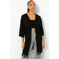 Womens Tassel Trim Jersey Kimono - Black - M, Black