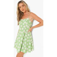 Womens Floral Print Tie Detail Swing Dress - Green - 10, Green