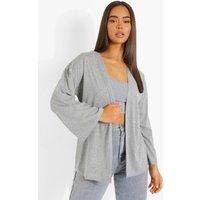Womens Jersey Kimono - Grey - L, Grey