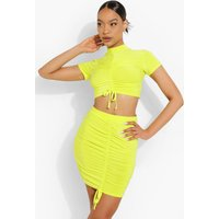 Womens Ruched Crop & Skirt Set - Green - 14, Green