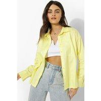 Womens Boxy Crop Cotton Poplin Shirt - Yellow - 12, Yellow