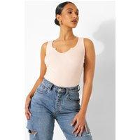 Womens Notch Neck Sleeveless Bodysuit - Pink - Xs, Pink