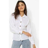 Womens Volume Sleeve Corset Waist Shirt - White - 12, White