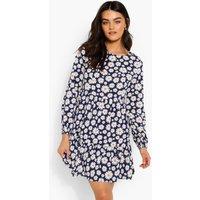 Womens Floral Print Drop Hem Smock Dress - Navy - 16, Navy