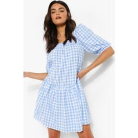 Womens Gingham Square Neck Smock Dress - Blue - 8, Blue