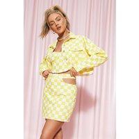 Womens Gingham Denim Cut Out Skirt - Yellow - 16, Yellow