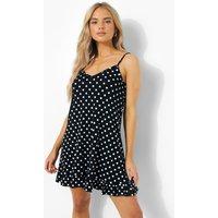Womens Polka Dot Strappy Frill Hem Swing Dress - Black - 18, Black