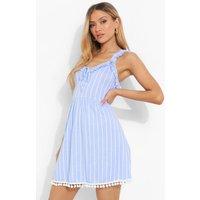 Womens Striped Pom Pom Swing Dress - Blue - 10, Blue