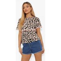 Womens Leopard Tassel Top - Beige - 8, Beige