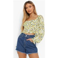 Womens Floral Puff Sleeve Top - Yellow - 14, Yellow
