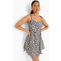 Womens Daisy Print Tie Detail Swing Dress - Black - 14, Black
