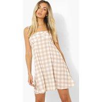 Womens Gingham Tie Detail Swing Dress - Beige - 12, Beige