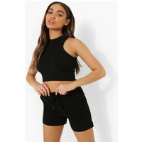 Womens Drawstring Elastciated Waist Shorts - Black - S, Black