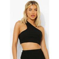 Womens Crinkle Asymmetric Top - Black - 14, Black