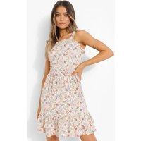 Womens Floral Print Shirred Skater Dress - White - Xs, White