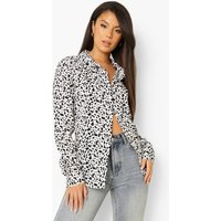 Womens Woven Printed Relaxed Fit Shirt - White - Xs, White