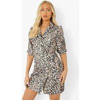 Womens Leopard Print Short Sleeve Blazer Dress - Brown - 18, Brown
