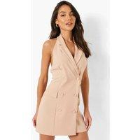Womens Halterneck Blazer Dress - Beige - 18, Beige