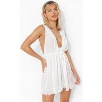 Womens Plunge Pleated Mesh Playsuit - White - 10, White