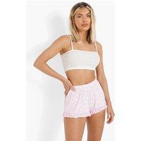 Womens Floral Ruffle Hem Flippy Shorts - Pink - 8, Pink