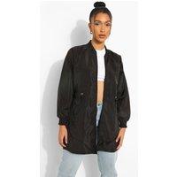 Womens Longline Bomber Jacket - Black - 8, Black