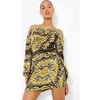 Womens Scarf Print Bardot Volume Sleeve Mini Dress - Black - 6, Black