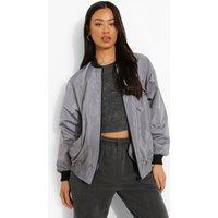 Womens Rib Collar Bomber Jacket - Grey - 8, Grey