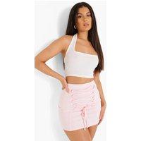 Womens Lace Up Frill Mini Skirt - Pink - 12, Pink