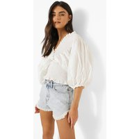 Womens Shirred Puff Sleeve V Neck Cross Top - White - M/L, White