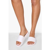 Womens Quilted Sliders - White - 3, White