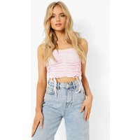 Womens Gingham Ruched Crop Top - Pink - 14, Pink