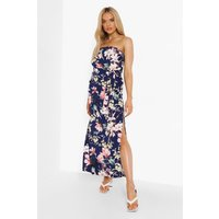 Womens Floral Bandeau Belted Maxi Dress - Navy - 18, Navy