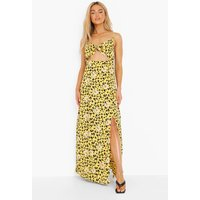 Womens Daisy Print Strappy Tie Bust Split Maxi Dress - Yellow - 8, Yellow