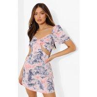 Womens Printed Short Sleeve Mini Dress - Pink - 14, Pink