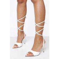 Womens Wide Fit Gold Heel Court Shoes - White - 4, White