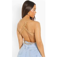 Womens Satin Chain Cross Back Top - Pink - 6, Pink