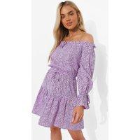 Womens Printed Bardot Tie Detail Skater Dress - Purple - 16, Purple