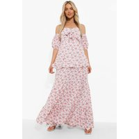 Womens Floral Bardot Knot Front Maxi Dress - White - 8, White