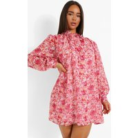 Womens Floral Dobby Mesh Long Sleeve Smock Dress - Red - 14, Red