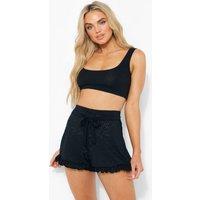 Womens Jersey Broderie Belted Frill Hem Shorts - Black - 6, Black